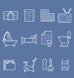 Real estate and accommodation amenities icons vector image vector image