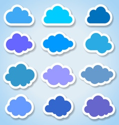 Set of 16 paper colorful clouds vector image vector image