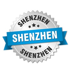 Shenzhen round silver badge with blue ribbon vector image vector image