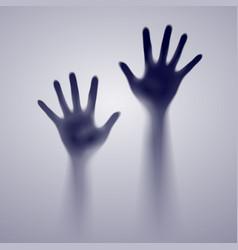 two open hands in the gray mist of designer vector image vector image
