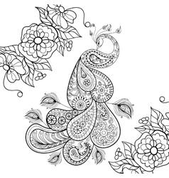 Zentangle Peacock totem in flowersfor adult anti vector image