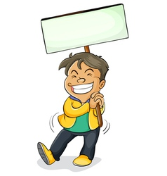 a boy holding board vector image