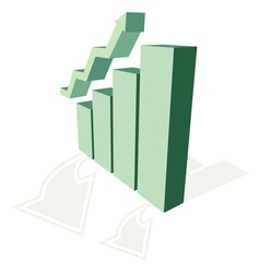 growing chart and arrow trend vector image vector image