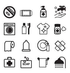hygiene icons set vector image