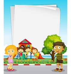 Paper design with kids in the park vector