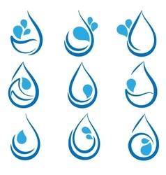 Set of water design elements emblems signs logo vector image