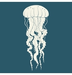 Silhouette of jellyfish Template vector image