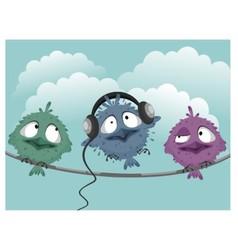 Three funny birds vector image