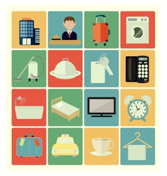 flat icons hotel vector image