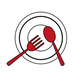 Plate with fork and spoon icon image vector