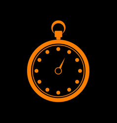 stopwatch sign orange icon on black vector image vector image