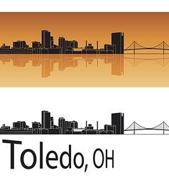 Toledo skyline in orange background vector image vector image