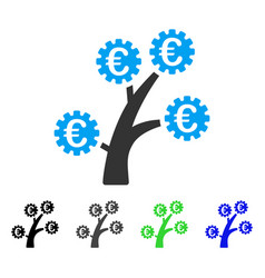 Euro technology tree flat icon vector