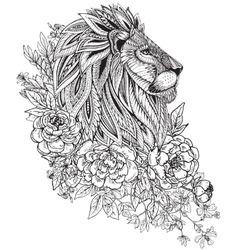 Hand drawn graphic ornate head of lion with ethnic vector image vector image