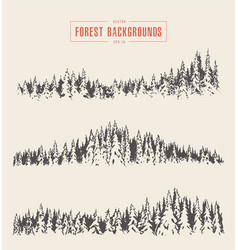 set pine forest backgrounds drawn sketch vector image