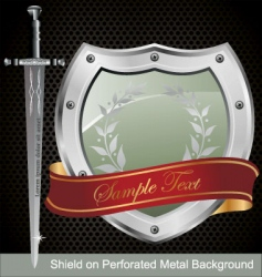 shield on perforated metal background vector image vector image