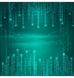 Stream of binary code to world map vector image
