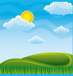 summer nature landscape hills and meadows sky and vector image