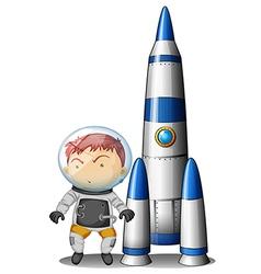 A boy beside the rocket vector image vector image