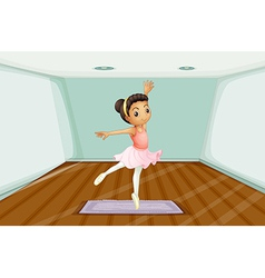 A young ballet dancer dancing above the rug vector
