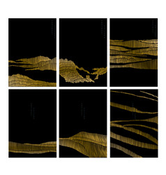 Abstract landscape with gold line pattern vector