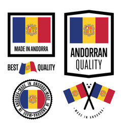 andorra quality label set for goods vector image