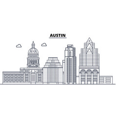 Austin united states outline travel skyline vector