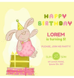 Baby Bunny Birthday Card vector image