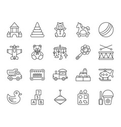 Baby toy simple black line icons set vector