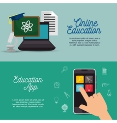 banner online education infographic design vector image