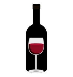 black bottle of wine with glass graphic vector image