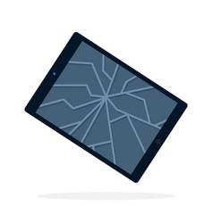 broken tablet screen flat isolated vector image
