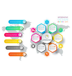 business hexagon labels shape infographic circles vector image