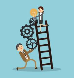 Business teamwork climbing stairs vector