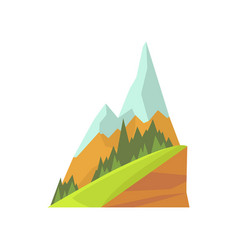 Cartoon mountain landscape with two snowy peaks vector