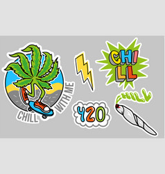 Chill sticker set vector