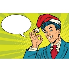 Christmas businessman OK gesture vector