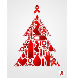 Christmas tree with AIDS icons vector