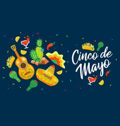 cinco de mayo mexican celebration poster in flat vector image
