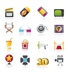 cinema and movie icons vector image