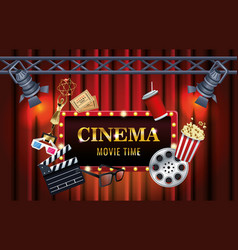 cinema entertainment with display and set icons vector image