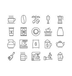 Coffe and tea beverage icon pack vector