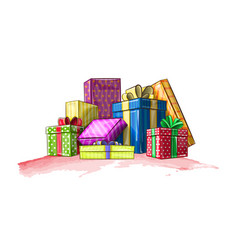 Colorful boxes with gifts for the holiday vector