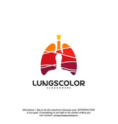 colorful lungs logo health lungs logo template vector image