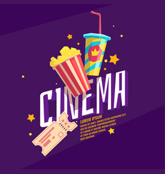 Colorful poster cinema with popcorn a ticket and vector