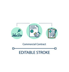 Commercial contract concept icon vector