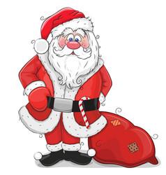 cute cartoon santa claus on a white background vector image