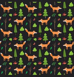 cute fox seamless pattern cartoon animals vector image