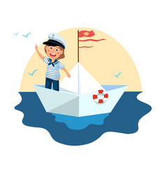 cute little boy in sailor costume standing on vector image