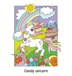Cute unicorn on shugar land colorful vector